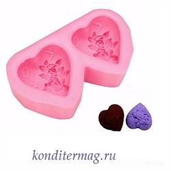 Молд силиконовый Пара сердец 9х5х2,5 см. 1