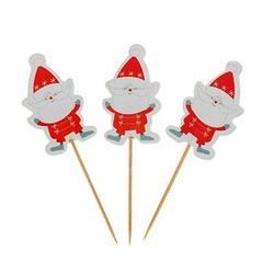 Пики для маффинов и канапе Дед Мороз усатый 8 см. 24 шт. 2
