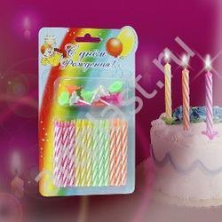 Свеча для торта с держателем С Днем Рождения 24 шт,, 1
