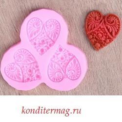 Молд силиконовый Сердечные дела 10х10 см. 1