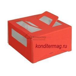 Упаковка для торта 1 кг. 21х21х12 см. Красная с окошками 1