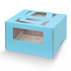 Коробка для торта 26х26х13 см. Голуб/окно 1