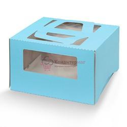 Упаковка для торта 1,5 кг. 26х26х13 см. Голубая с окошками 1