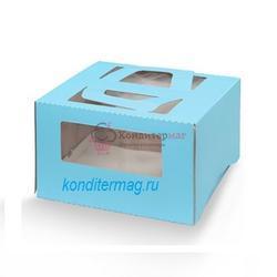 Упаковка для торта 2 кг. 30х30х17 см. Голубая с окошками 1