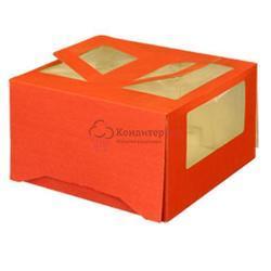 Упаковка для торта 2 кг. 30х30х17 см. Красная с окошками 1