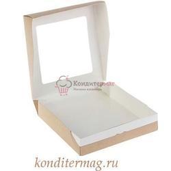Упаковка для сладостей 20х20х4 см. Крафт с окошком 1