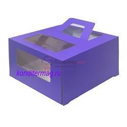Упаковка для торта 1 кг. 21х21х12 см. Фиолетовая с окном 1