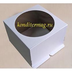 Упаковка для торта 4,5 кг. 40х40х20 см. Белая с окошком 1