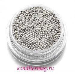 Шарики сахарные серебро 3 мм. 50 г. Tortora 1