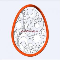 Формочка для печенья Яйцо с росписью 11х8 см. + трафарет Любимова 1