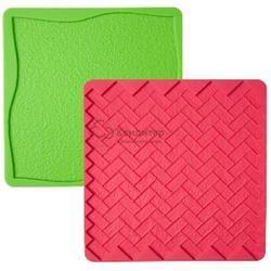 Мат силиконовый для мастики 15х15 см. 2 шт. Трава и Кирпич силикон Вилтон 1