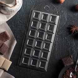 Форма для конфет Шоколадная Плитка 15х7 см. 18 яч. пластик 1