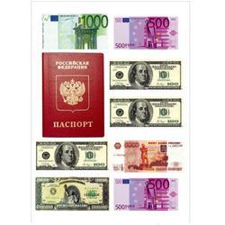 Вафельная картинка Паспорт и деньги 1