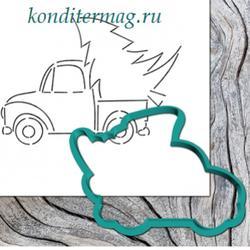 Формочка для пряников Машина с елкой 10,5 х 7,5 см. + трафарет Любимова 1