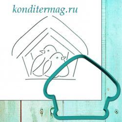 Формочка для пряников Птички в домике 10х12 см. + трафарет 1
