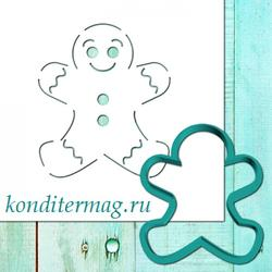 Формочка для пряников и трафарет Пряничный человечек №3 8 см. 1