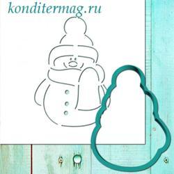 Формочка для пряников и трафарет Снеговик модный 11 см. 1