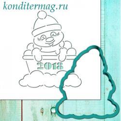 Формочка для пряников Снеговик 11 см. + трафарет 1