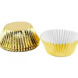 Форма для кексов бумажная 5х3,2 см. 32 шт. Золотая Fissman 1