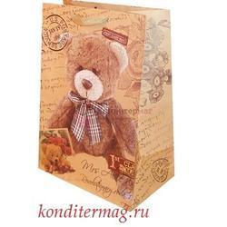 Пакет бумажный крафт Мишки 26х32х12 см. 1