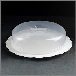 Блюдо для торта с крышкой 25х9 см. белое Милих 1