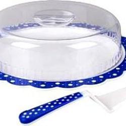 Блюдо для торта с крышкой Горошек синий d-37, h-8 см.+лопатка 1