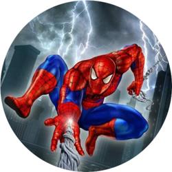 Вафельная картинка Человек паук круглая 1