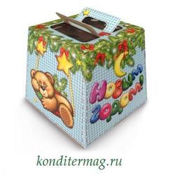 Подарочная упаковка 18,5х18,5х18,5 см. на 2 кг. с ручками Мишки 1