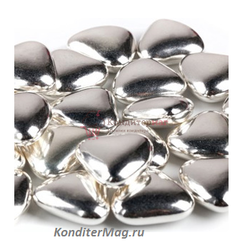 Сердечки шоколадные 2,5 см. серебро 100 г. Ambrosio 1