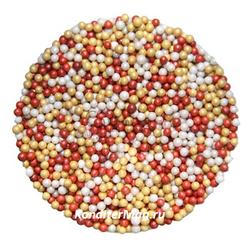 Посыпка Шарики бордо/серебро/золото перламутровые 100 г. 1
