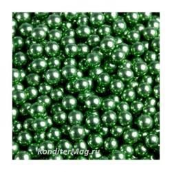 Шарики сахарные металлик 5 мм. зеленые 50 г. Tortora 1