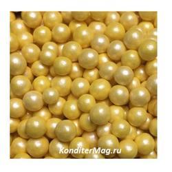 Жемчуг сахарный Желтый перламутр 5 мм. 100 г. 1
