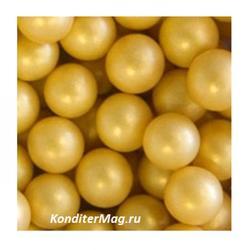 Декор сахарный Шарики золото 10 мм. Жемчуг перлам. 100 г. 1