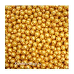 Шарики сахарные золото 6 мм. 100 г. Ambrosio 1