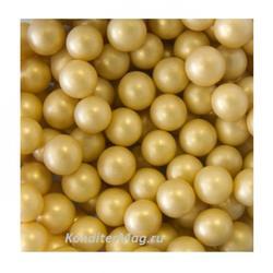 Шарики сахарные золото матовое 6 мм. 50 г. Dulcisud 1