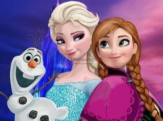 Вафельная картинка Эльза, Анна и Олаф 1