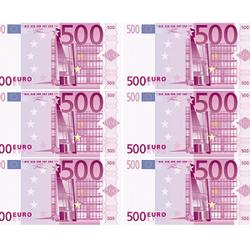 Вафельная картинка Евро 6 шт. по 500 € 1