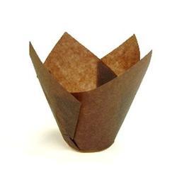 Форма бумажная для выпечки маффинов Тюльпан коричневая, 10 шт., 1