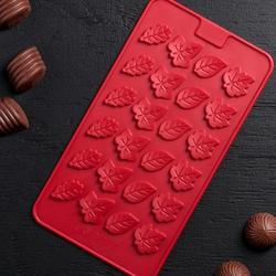 Форма для конфет Листики 21,2х11,5 см. силикон 1