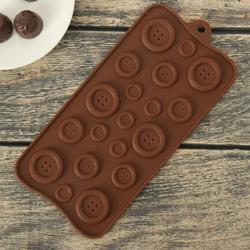 Форма для конфет Пуговки 20х10 см. 19 ячеек 1