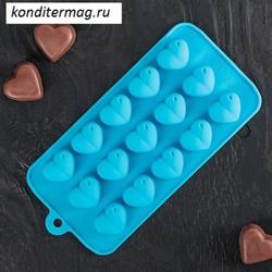 Форма силиконовая для шоколада Сердечки 1