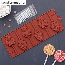 Форма силиконовая для леденцов Девочка и мишка с палочками 1