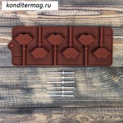 Форма силиконовая для леденцов Поцелуй 6 ячеек с палочками 1