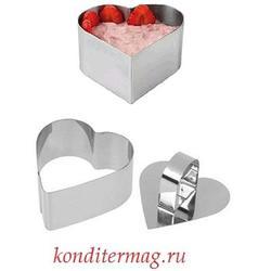 Форма для выкладки десертов и салатов с ручкой Сердце 8х8 см. 1