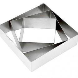 Форма для выкладки выпечки Квадрат 11,14,18 см. h-5 см. набор 3 шт. нерж. ст. 1