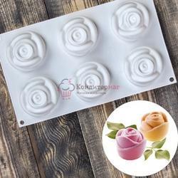 Форма силиконовая 6 ячеек Розы 30х17,5х6 см. 1