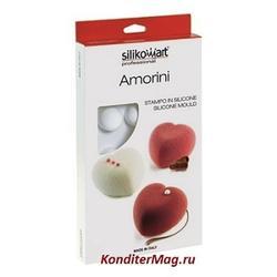 Форма силиконовая Сердца мини 8 ячеек и вырубка Silikomart 2