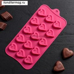 Форма силиконовая для конфет Сердечко 21х10 см. 1