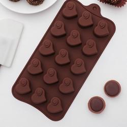 Форма для конфет Сердцеедка 21х11 см. силикон 1
