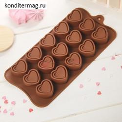 Форма силиконовая для шоколада Сладкое сердце 1